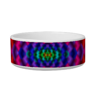 Rainbow Mind Warp Psychedelic Fractal Pet Food Bowl