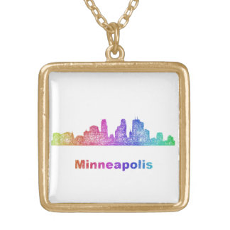 Rainbow Minneapolis skyline Gold Plated Necklace