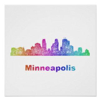Rainbow Minneapolis skyline Poster