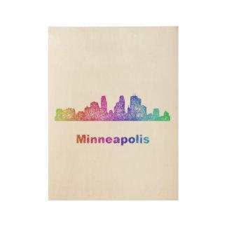 Rainbow Minneapolis skyline Wood Poster