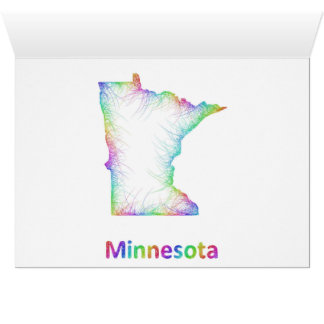 Rainbow Minnesota map Card
