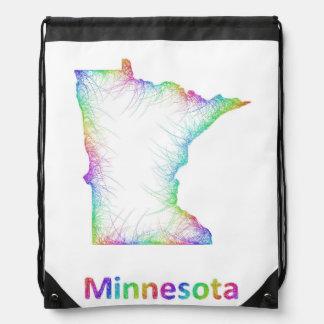 Rainbow Minnesota map Drawstring Bag
