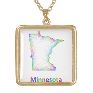 Rainbow Minnesota map Gold Plated Necklace