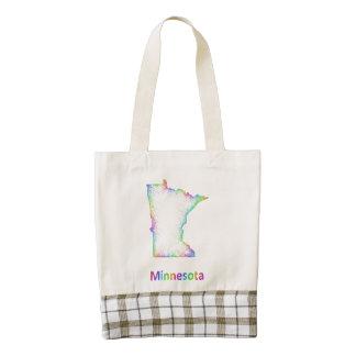 Rainbow Minnesota map Zazzle HEART Tote Bag
