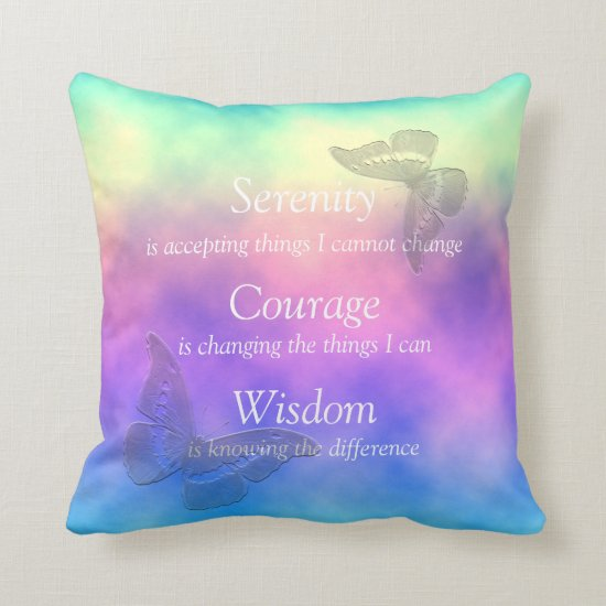 [Rainbow Mist] Butterflies Serenity Prayer Throw Pillow