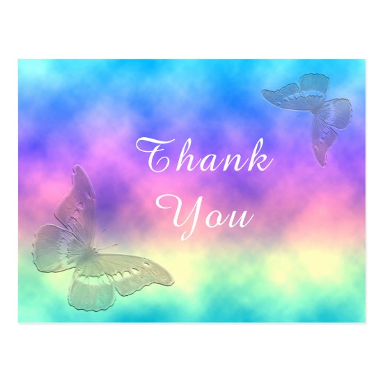 [Rainbow Mist] Colorful Butterflies Thank You Postcard