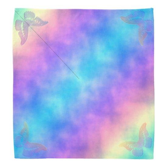 [Rainbow Mist] Pastel Tie-Dye Butterflies Bandana