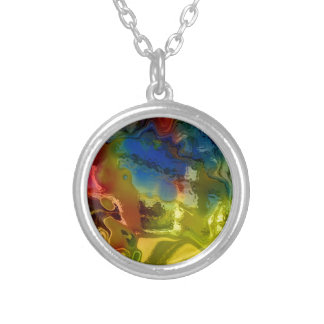Rainbow mix 1 silver plated necklace