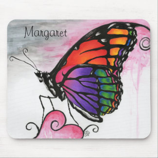 Rainbow Monarch Butterfly Colorful Fantasy Art Mouse Pad