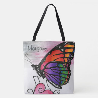 Rainbow Monarch Butterfly Colorful Fantasy Art Tote Bag