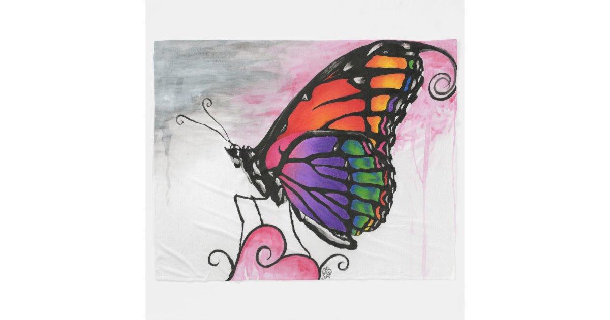 Rainbow Monarch Butterfly Original Fantasy Art Fleece