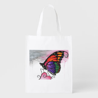 Rainbow Monarch Butterfly Original Fantasy Art Grocery Bag