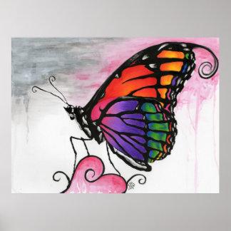 Rainbow Monarch Butterfly Original Fantasy Art Poster