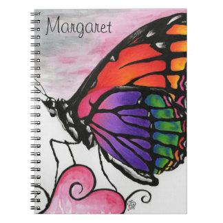 Rainbow Monarch Butterfly Original Fantasy Art Spiral Notebook