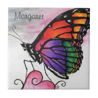 Rainbow Monarch Butterfly Original Fantasy Art Tile