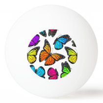 Rainbow Monarch Butterfly Pattern Ping Pong Ball