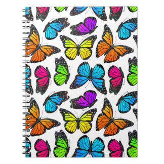 Rainbow Monarch Butterfly Pattern Spiral Notebook