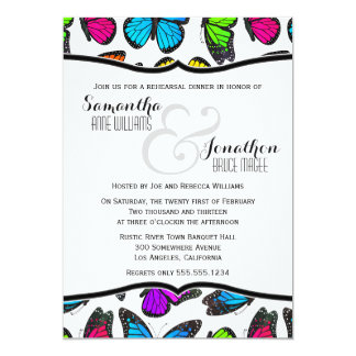 Rainbow Monarch Butterfly Reheasal Dinner Invite