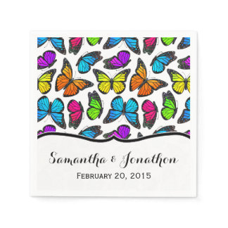 Rainbow Monarch Butterfly Wedding Paper Napkin