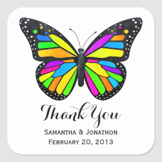 Rainbow Monarch Butterfly Wedding Thank You Square Sticker
