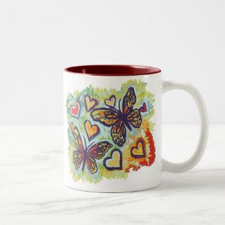 Rainbow Monarchs Two-Tone Coffee Mug
