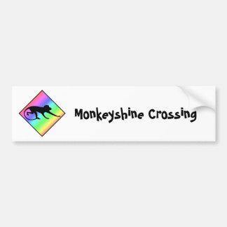 Rainbow Monkey Crossing Bumper Sticker
