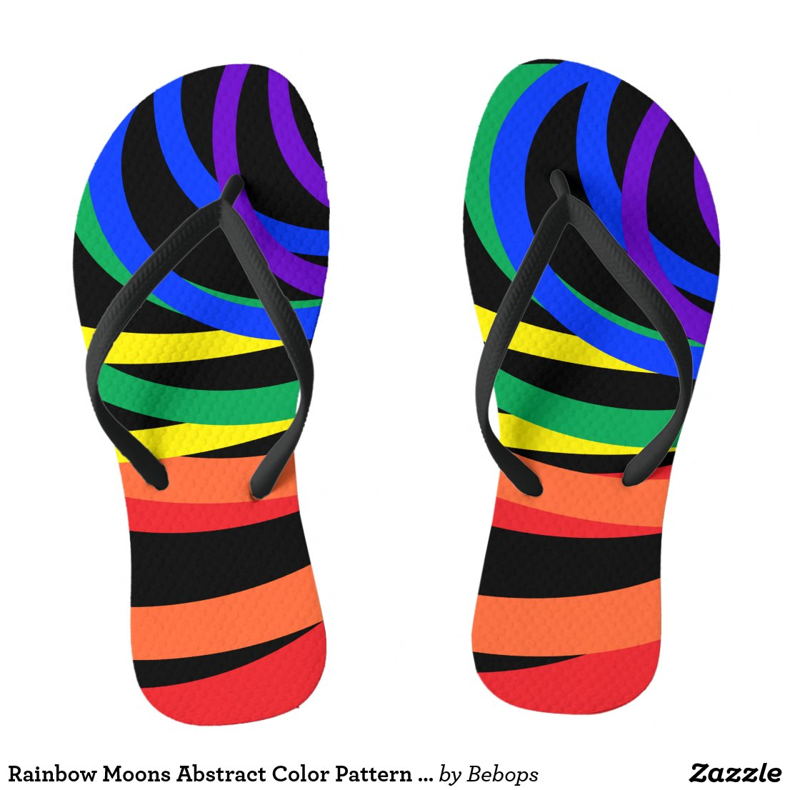 Rainbow Moons Abstract Color Pattern Flip Flops