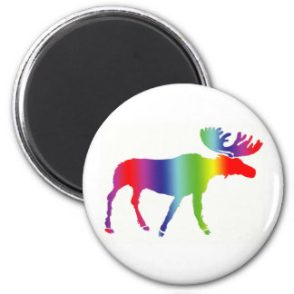 Rainbow Moose 2 Inch Round Magnet