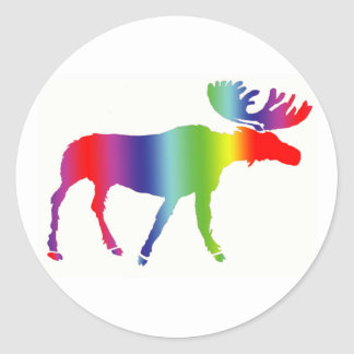 Rainbow Moose Classic Round Sticker