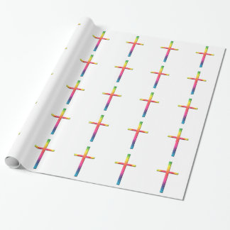 Rainbow Mosaic Cross Wrapping Paper