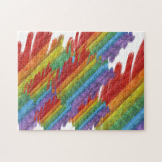 Rainbow Mosaic Gay Pride Flag (Paintbrush) Jigsaw Puzzle