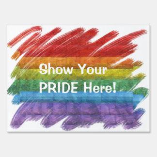 Rainbow Mosaic Gay Pride Flag (Paintbrush) Sign