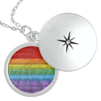 Rainbow Mosaic Gay Pride Flag Round Locket Necklace