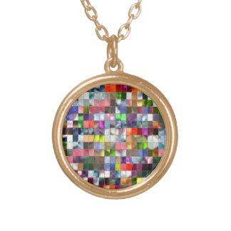 Rainbow Mosaic Round Pendant Necklace