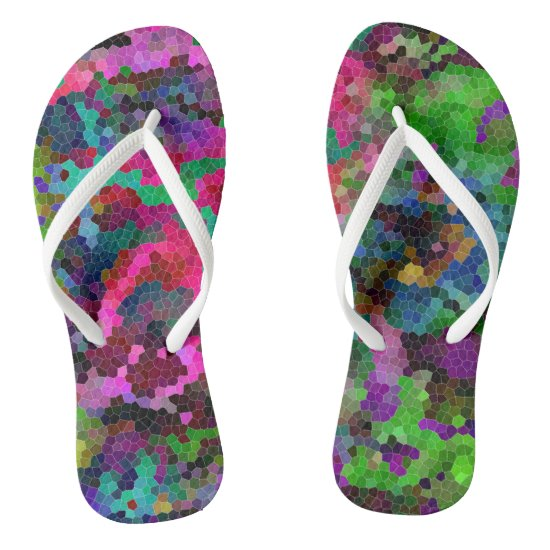 [Rainbow Mosaic] Stained-Glass Effect Flip Flops