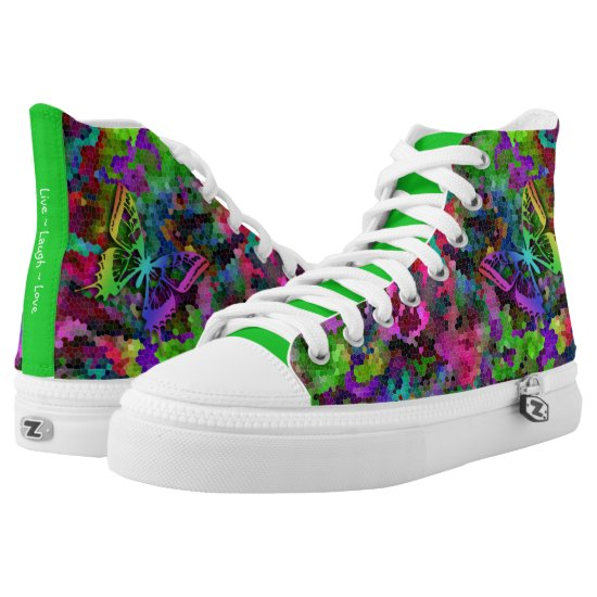 [Rainbow Mosaic] Stained-Glass Effect High-Top Sneakers