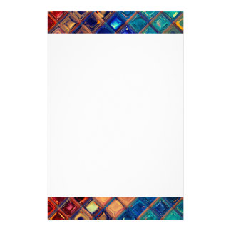 Rainbow Mosaic Tile Bold Bright Primary Faux Gems Stationery