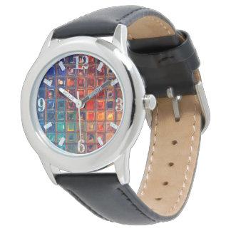 Rainbow Mosaic Tile Bold Bright Primary Faux Gems Wristwatch