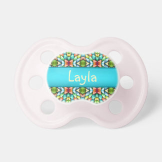 Rainbow Mosaic Tiles Stone Pacifier