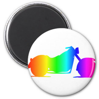 Rainbow Motorcycle #4 2 Inch Round Magnet