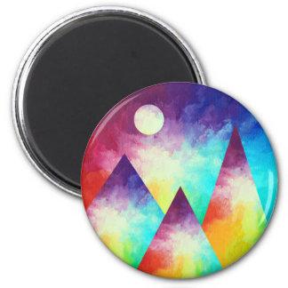 Rainbow Mountain Magnet, Rainbow Painting Magnet