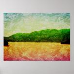 Rainbow Mountains Coast Water Newfoundland Canada Print
