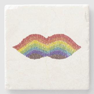 Rainbow Moustache Marble Coaster