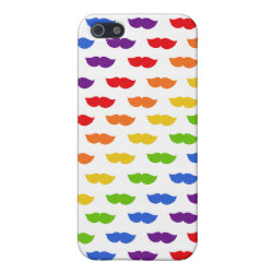 Case Savvy iPhone 5 Matte Finish Case with Mustache Rainbow design