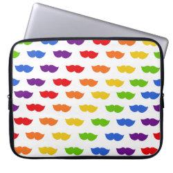 Neoprene Laptop Sleeve 15' with Mustache Rainbow design