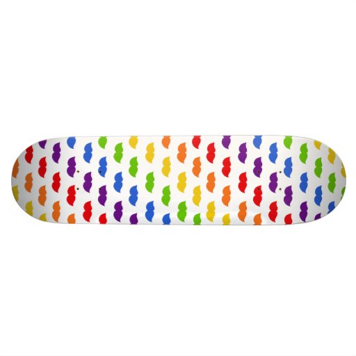 Rainbow Moustaches Skate Board