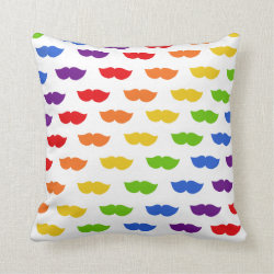Cotton Throw Pillow with Mustache Rainbow design