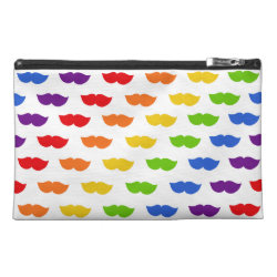 Travel Accessory Bag with Mustache Rainbow design