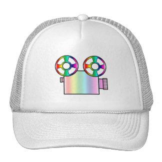 Rainbow Movie Camera on White Trucker Hat