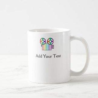 Rainbow Movie Camera on White Mug